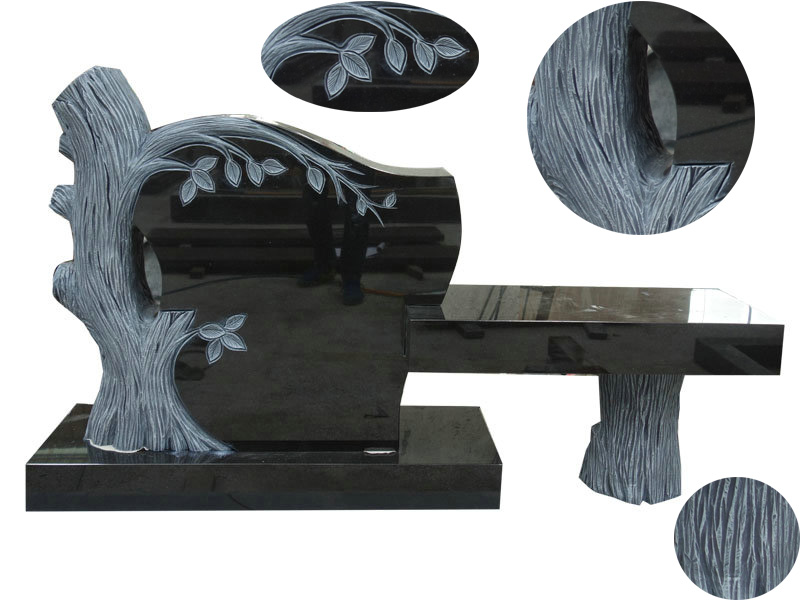 Black Granite Tree Shaped Headstones Bench Design