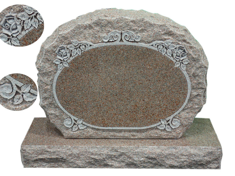 Red Granite Upright Headstones With Roses Design