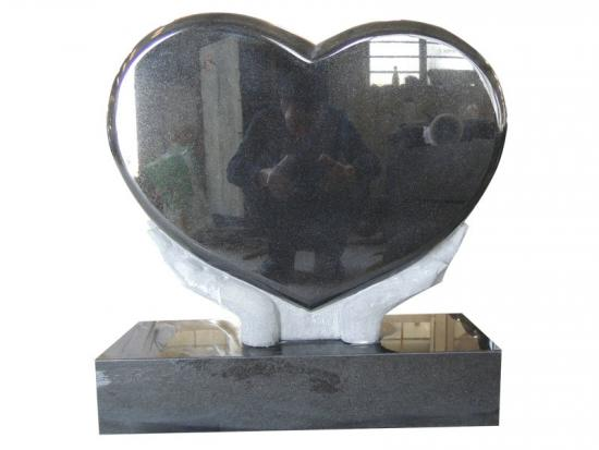 Black Granite Heart Shaped Grave Monuments