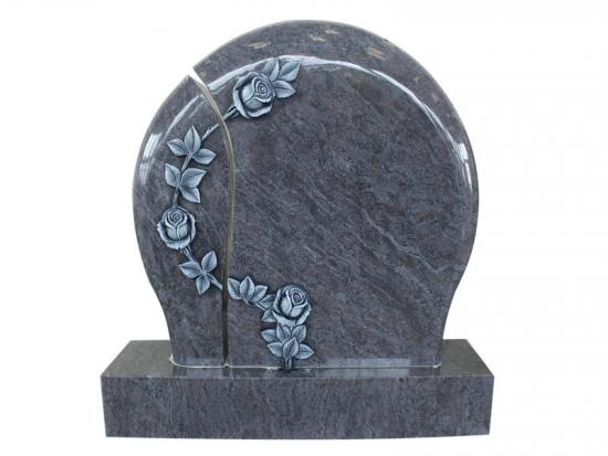 Blue Granite Rose Headstone Designs