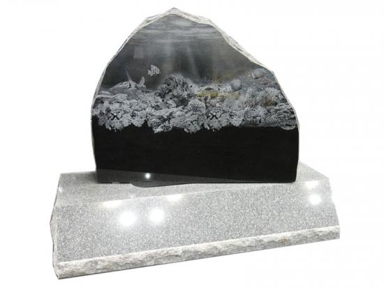 Black Granite Etched Memorials For Cemetery