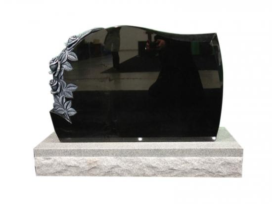 Black Granite Carved Rose On Headstones