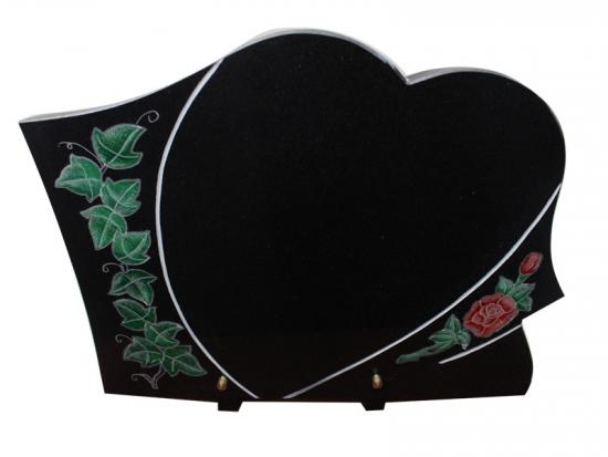 Black Granite Carved Heart Memorial Plaques