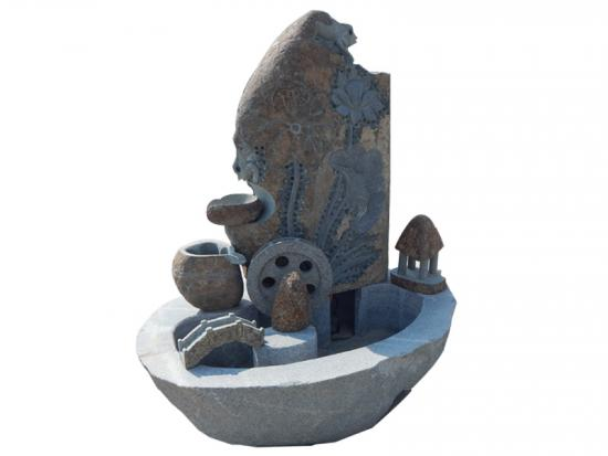 Engraved Natural Stone Fountains For Garden