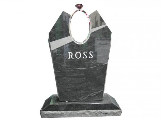Dark Grey Granite Headstones With Roses In Aluminum