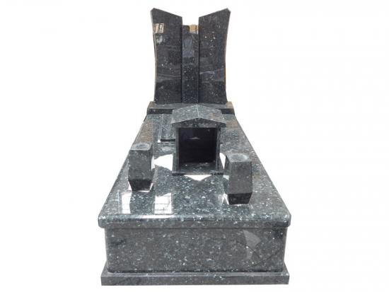 Blue Granite Headstones With Double Vase And Bible